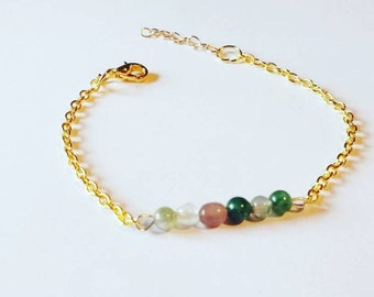 Bracelet fine golden row of natural pearls agates of India green tones