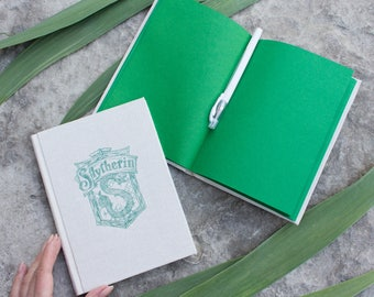 Slytherin green paper notebook hardcover - Harry Potter fabric sketchbook, Hogwarts creative journal, blank, handmade, book