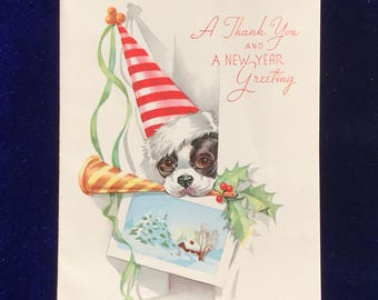 1940's Boston Terrier Christmas New Year Thank You Card