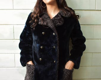 Vintage 70's faux fur double breasted coat