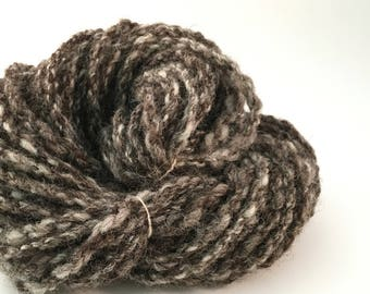 Hand spun yarn; undyed Jacob wool; textured 4 ply cable yarn; chunky weight; weaving yarn; knitting yarn