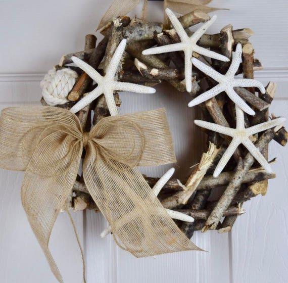 Small Starfish Branch Vine Rustic Wreath with Burlap; Shore Wreath; Beach House Decor Wreath; Shore House Decor Wreath; Beach Wreath