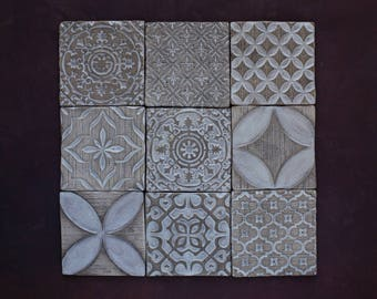White&Gray Ceramic Rustic Tile Set of 9 for Kitchen/Bathroom Backsplash
