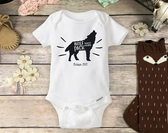 Wolf Pack Onesies® Brand or Carter's® Bodysuit Hipster Baby Shower Gift Pregnancy Reveal Wolves onsie Little Brother Wolf Pack Newest Member