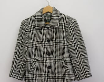 Ralph Lauren Houndstooth Black/Off White Lined & Tailored Jacket, Excellent Condition.....Size 6