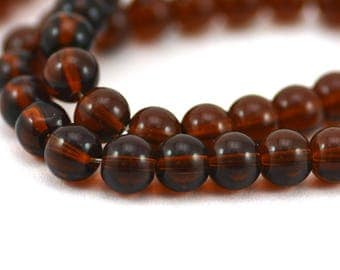 Topaz Amber Brown Transparent Smooth Round Glass Spacer Filler Beads 8mm