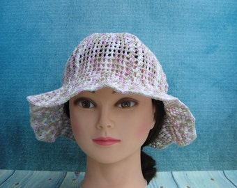 Summer hat /  Beach sun hats / Crochet panama / Cotton organik beanie  / Knitted lightweight  hat / Gift for her