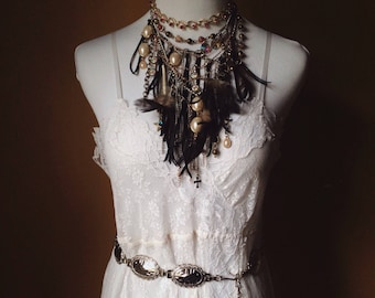 Bohemian Upcycled Statement Necklace/ One of a Kind Festival Gypsy Necklace/ Feather and Tassel Pearl Necklace/