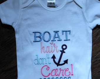 Boat hair don't care bodysuit for baby girls,Nautical Anchor bodysuit,baby girl beach wear, Lake,Boat,baby girl sunsuit,baby shower gift