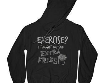 Gym hoodie exercise hoodie fries hoodie motivation hoodie funny hoodie junk food hoodie cheat meal hoodie hipster hoodie     APV16