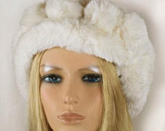 Faux Fur Headband,Ivory Fur Head wrap,Wedding Faux Fur Hat, Wedding Faux Fur Hat,Holiday Gift,Winter Wedding Hair Accessories -HA049