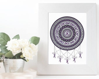 Purple Ribbon Mandala - Epilepsy awareness Mandala - art print