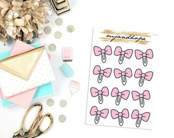 Bow Clip Stickers | DC01 | Doodle Collection Planner Stickers