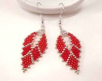 Red Seed Bead Earrings, Beaded Earrings, Russia Leaf Earrings, Hippie Earrings, Gypsy Earrings, Bohemian Earrings, Russia Earrings