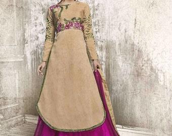Indian Designer Maroon Colored Faux Georgette Salwar Suit Anarkali heavy embroidered Suit Dress