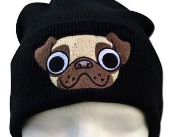 Pug Beanie, Pug Gifts, Pug mug face, Animal, pug bobble hat, Embroidered, bobble Beanie, Pug Hat, Womens beanie hat