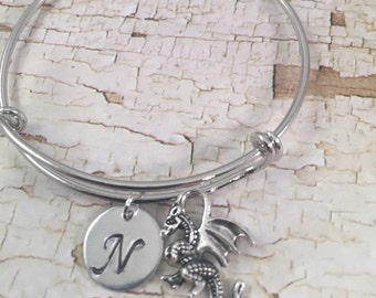 Little Girl bracelet, personalized initial charm bracelet, dragon charm bracelet, little girl jewelry, dragon charm