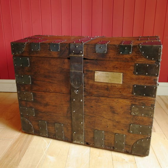 Antique VICTORIAN SILVER CHEST Wooden Storage Trunk Table Rustic Oak Campaign Furniture