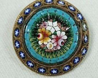 Round Micro Mosaic Brooch Pin, Italy, Grand Tour Souvenir