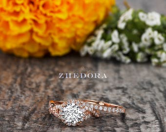 2.15 CT Round Cut Engagement Ring band set in Solid 14k or 18k Rose Gold Bridal, Wedding Set , Engagement Set