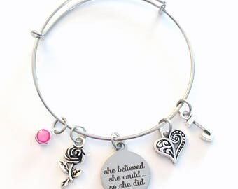 She believed she could so she did Jewelry, Graduation Gift for Women Charm Bracelet, daughter Silver Bangle initial birthstone Present can