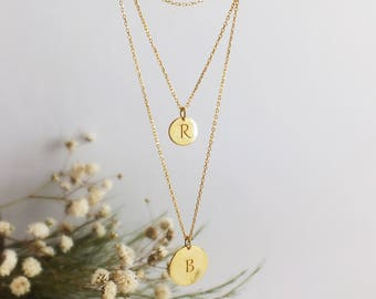 Personalized Gift For Women, Delicate Layered Necklace, Personalized Initial Necklace, Personalized Necklace, Rose Gold Disc Necklace