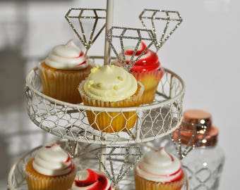 SALE! Glitter Diamond Cupcake or Donut Toppers, Picks  / Bachelorette or Hen Party Decor, Last Fling before the Ring Decor