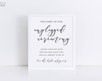 Printable Unplugged Ceremony Sign   Wedding Signs   Editable Sign   Calligraphy Black and White Sign   Editable Template   Engagement Signs