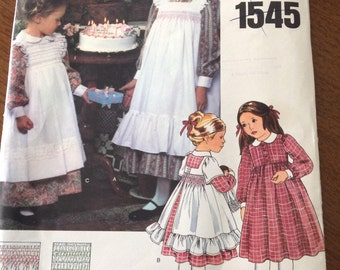 Smocked pinafore, Vogue smocked pinafore pattern, size 3 smocked dress and pinafore, vintage dress pattern, vintage smocking, girl's dress