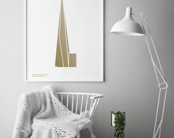 Metallic Gold Shard, London Screen Print | London Print | London Artwork | London Illustration | Architecture Print | City Print
