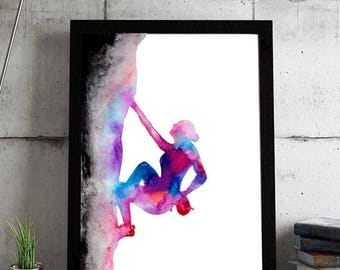 The rock lover - Fine Art Giclee Print rock climbing watercolor painting - Climber gift