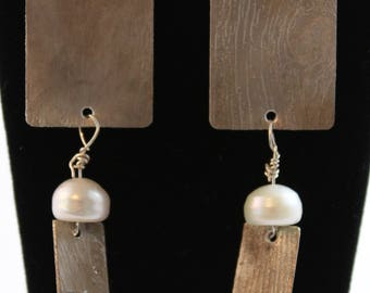Etched Sterling Silver Earrings with bead and silver drop. (061617-010)