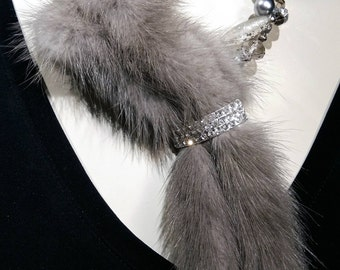 Smokey Grey Mink tails, fur necklace, silver pearls, and crystal, spectacular and chic WOW Factor
