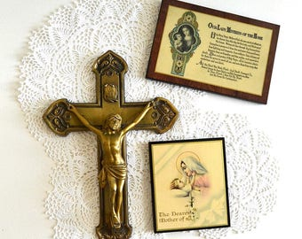 vintage brass crucifix cross religious pictures Holy Mary Jesus religion collectibles