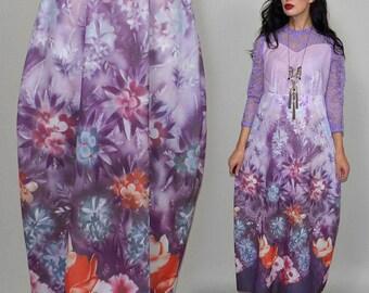 Vintage Romantik Elfe Kleid Pastell Blumen Foto Druck Spitze Kostüm Psychedelic Fotorealismus Bouquet Floral Tapestry Mesh Bridesmaid Robe L