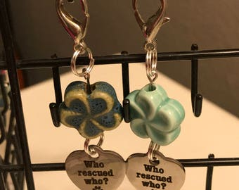 Who Rescued Who? Dog Collar Charm w Ceramic Flower Bead Accent