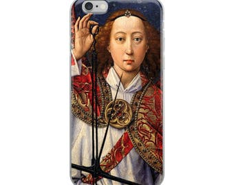 Christian art iPhone case early Renaissance 15th century late Gothic fine art painting angel on Judgement Day