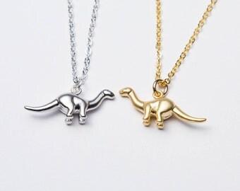 Dinosaur Necklace. Gold Dinosaur Necklace. Silver Dinosaur Necklace. Brontosaurus necklace. Apatosaurus Necklace.