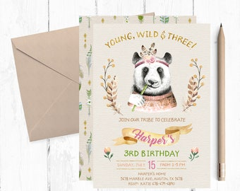 Young Wild and Three Invitations, Panda Birthday Invitations, Young Wild and Three Invites, Panda Invite, Autumn Woodland Invitation,  theme