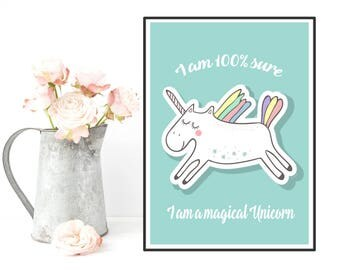 Nursery decor, Unicorn poster, Unicorn quote, Disney quote, Bedroom wall decor, Kids decor, Room art girl art boy, Nursery print, Kids gift
