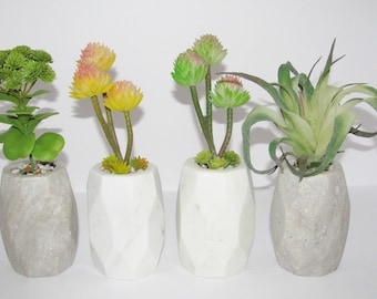 Geometric Granite Succulent Planter, Faux Succulent Planter, Desk Accessory, Artificial Succulent Arrangement, Unique Succulent Gift