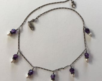 Vintage Amethyst and Pearl Beaded Oxidized 925 Sterling Silver Chain Necklace