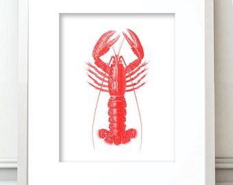 Lobster Clipart, Lobster Digital Download, Red Lobster, Lobster Digital Prints, Lobster Printable, Lobster Prints, Lobster Wall Art, Lobster