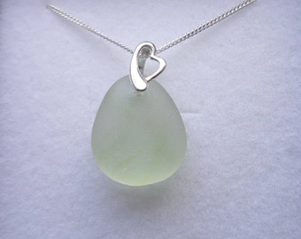 Dainty Lemon Meringue Sea Glass Sterling Silver Necklace Pendant, Seaglass, Beach Glass, Beach Jewelry, Sea Glass Pendant, Seaham