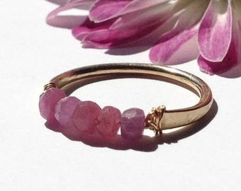 Raw Ruby Gemstone Ring-Stackable Ruby Ring-Raw Ruby Stacking Ring-Gold & Sterling Silver Rings-Ruby Bar Ring-July Birthstone Ring for Women