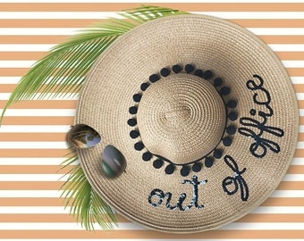 Out Of Office Hat | Gift for Colleague | Vacation Hat | Travel Gifts for Her | Wide Brim Hat | Sequin Sun Hat | Natural Straw Hat | Sun Hats