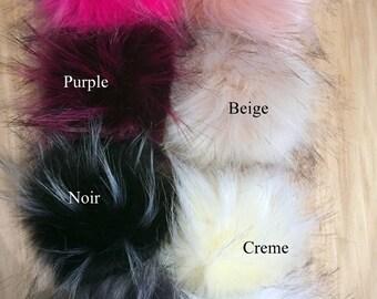 6 pack Racoon faux fur pompom