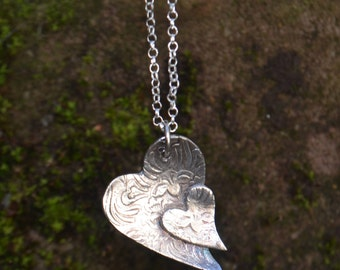 Mothers day, Fine silver double heart necklace, sterling silver chain, weddings, bridal jewellery, bridesmaid gift