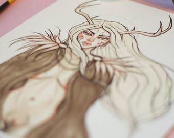 Goddess Fauna Inktober Handmade Art Print