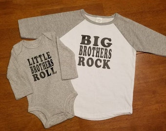 IRON ON-Big Brothers Rock & Little Brothers Roll - Set of two-Decal Only- Perfect for boys DYI shirts. Sibling decals.